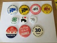 Vintage Farming Pinback Lot of 10, Pioneer, Pork, 4H, Threshing, Etc.