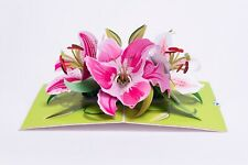 Pop Up Greeting Card Lily Flower- 3D Card, Birthday Card, Anniversary, Mother