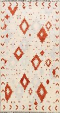 Modern IVORY/RUST 6x9 Moroccan Berber Oriental Area Rug Hand-knotted Home Decor