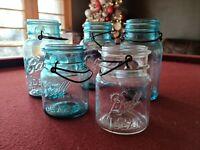 5 Ball Ideal Canning Jars + Metal Bail | 3 Quart, 2 Pint | 1 Clear, 4 Blue