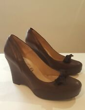 Unisa Ladies Brown Leather Suede Bow Wedge Heel Platform Court Shoes UK 6 EU 39