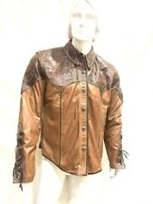 Steelo Men's Brown Leather Sports Jacket With Python Leather,Hurry