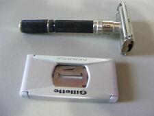 Vintage 1969 Gillette Super Adjustable Safety Razor 0-2 Short Black Handle