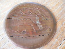 Vintage! EGYPTIAN SPHYNX and PYRAMIDS Engraved Copper Decorative Plate
