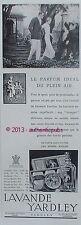 PUBLICITE PARFUM LAVANDE YARDLEY FLEUR SAVON POURDRE DE RIZ DE 1934 FRENCH AD