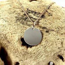 925 Sterling Silver 14mm Disc Pendant Charm & 9ct Rose Gold Bail Engravable