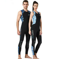 Men Women Full-body Sleeveless Wetsuit 3mm Neoprene One-Piece Scuba Diving Suit