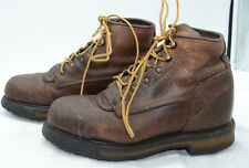 Vtg Red Wing Shoes USA Mens Sz 8 Steel Toe Work Logger Biker Leather Ankle Boots