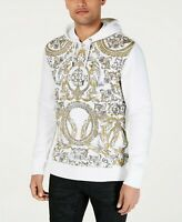 INC Mens Sweater White Size 2XL Hooded Floral Damask Print Pullover $65- 277