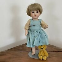 "9"" Kammer Reinhardt 101 Bisque Doll Reproduction W/ Antique Mohair Jointed Bear"