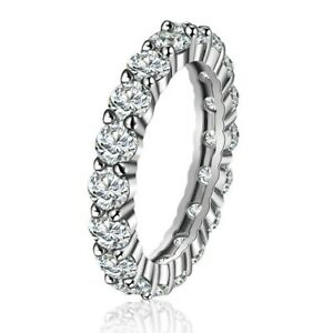 ETERNITY FULL BAND RING WITH CUBIC ZIRCONIA 925 STERLING SILVER RHODIUM PLATED