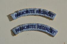 VIEILLE REPRODUCTION PAIRE D INSIGNES TISSUS DE MANCHE PARACHUTE REGIMENT GB WW2