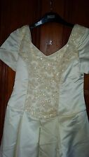 VINTAGE ?WEDDING BRIDESMAID DRESS IVORY SILKY BEADS SEQUINS TRAIN BOW ROSE 28 CH