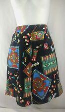 Vintage Head Brand Ladies Black Novelty Board Game Print  Culottes shorts Size 6