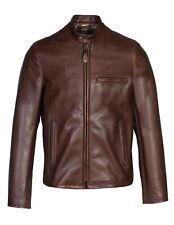 Schott 530 Waxed Natural Pebbled Cowhide Café Leather Jacket Size S