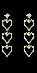 3 Heart Chain Long dangling 14k Yellow Gold Plated Earrings*