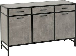 Athens 3 Door 3 Drawer Sideboard in Concrete Effect with Black Metal Trim