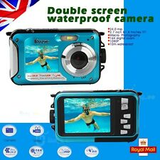 24MP DOUBLE SCREEN UNDERWATER DIGITAL VIDEO CAMERA HD 1080P,10M WATERPROOF,BLUE