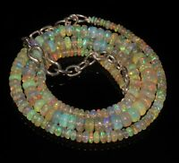 100% Natural Ethiopian Welo Fire Opal  Roundel Beads Necklace   strand / Chain.
