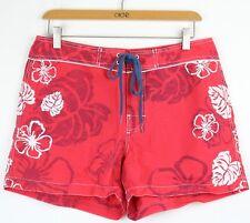 Tommy Hilfiger Red Swim Board Surf Shorts Hibiscus Hawaiian Nylon Swimwear Sz 8