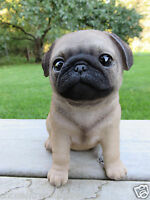 """PUG PUPPY DOG FIGURINE STATUE RESIN PET 6"""" H CANINE BROWN WHITE ORNAMENT SITTING"""