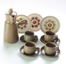 Denby Langley, Sherwood, Coffee Pot, 4 Cup Saucer Trios.