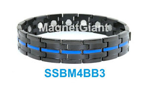 Black & Blue plating Men's stainless steel link bracelet 5000 Gauss 316L