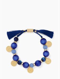 Kate Spade New York Women's Pretty Poms Beaded Tassel Bracelet - Blue/Gold