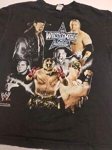 WWE Wrestlemania 25th Anniversary 2009 Houston Black S/S T-Shirt Youth 18/20 XL