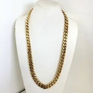 """17.5 mm gold plated solid handmade Miami Cuban link sterling silver chain 32"""""""