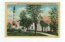 AL Montgomery Alabama antique linen post card State Capitol & Confed. Monument