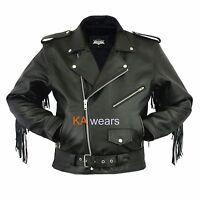 Mens Leather Brando Classic Biker Motorbike Motorcycle Jacket Perfecto Vintage