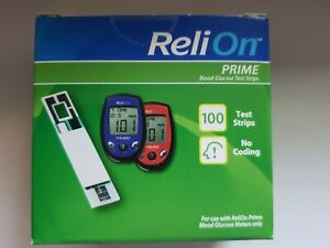 ReliOn Prime Blood Glucose Test Strips 100 Count Exp. 03/22+Sealed and new !