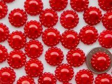 """! 100! Rojo Perla Flor flatback Adornos - 12mm/0.4"""" - Perlas de artesanía"""