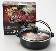 Japanese SUKIYAKI Shabu shabu Cooker NABE Cooking Grill Pan IH 20cm w/Lid HB-182