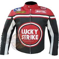 Lucky Strike 0113 Red Motorcycle Motorbike Biker Racing Leather Armoured Jacket