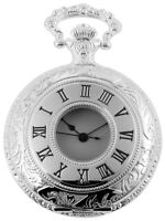 Classique Taschenuhr Weiß Silber Römische Ziffern Analog Quarz X485822000004