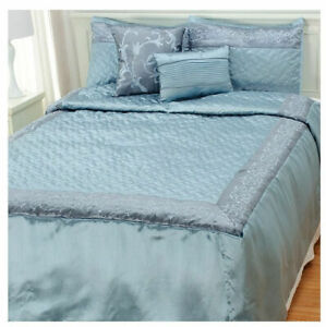 North Shore 5-Piece Metallic Leaf Embroidered Bedding Ensemble in Blue - Queen
