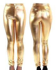 Leggings da donna in oro di lunghezza totale