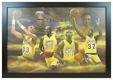 Lakers Legends Basketball Kobe Bryant Shaq Kareem 24x36 Framed Poster (F2-1017)