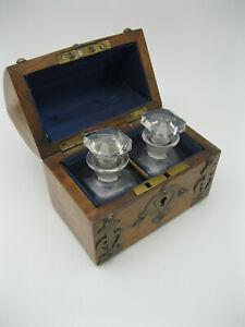 Antique French ? Burl Wood & Metal Perfume Casket w 2 Glass Bottles