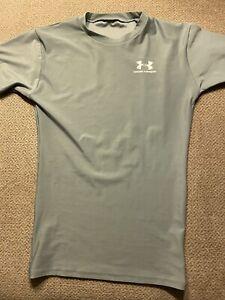 Mens Under Armour Silver Spandex Compression Shirt Medium M