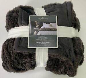 "THRESHOLD Throw Blanket NWT Oversized Faux Fur 60"" x 86"" Dark Gray"