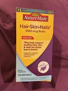 Nature Made Hair Skin Nails 2500 mcg Biotin (120 Softgels) EXP. 10/2022