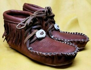 Buffalo Men's Size 9 Moccasins Tobacco Brown Pawnee Style indian Bison Leather