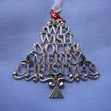 "NEW Christmas Tree Word Ornament, ""Wish You Merry Christmas,"" with Cardinal"