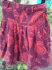 Red burgundy floral velvet Monsoon skirt age 8-10 embroidered