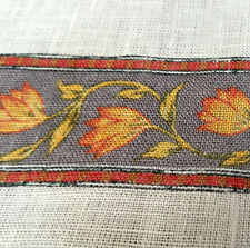 """52"""" Flower Vine Stripe Print White Linen Fabric Red Yellow Grey By The Yard"""