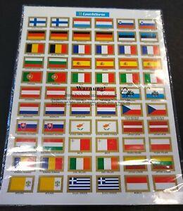 Vlaggen- en landsnaamstickers eurolanden + Duitse muntsteden, jaartallen etc