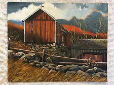 "Vintage 1976 Original Barn & Landscape Oil Painting on Canvas panel (16"" X 20"")"